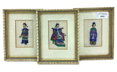 Lot 1054-A LOT OF THREE CHINESE PAINTINGS ON RICE PAPER