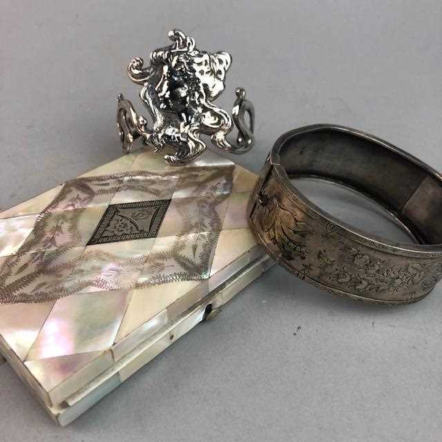 Lot 1-A SILVER BANGLE ALONG WITH OTHER COSTUME JEWELLERY