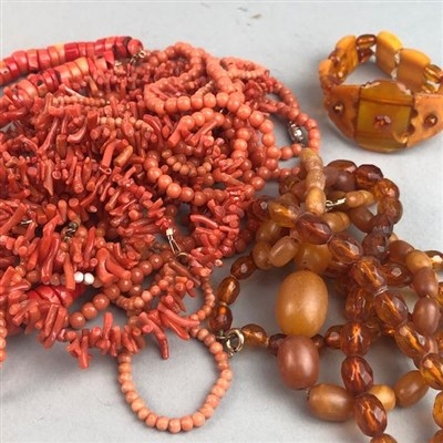 Lot 5-A COLLECTION OF CORAL BEAD NECKLACES AND OTHER BEAD NECKLACES