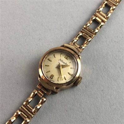 Lot 2-A LADIES GOLD NIVADA WRIST WATCH AND OTHER JEWELLERY