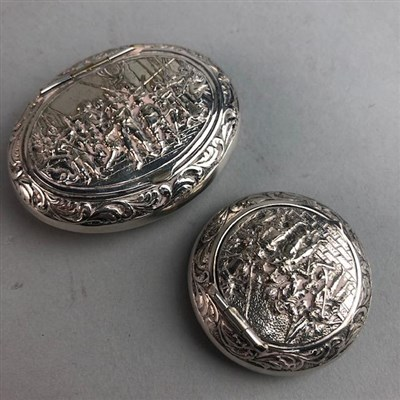 Lot 31-TWO EMBOSSED WHITE METAL PILL BOXES