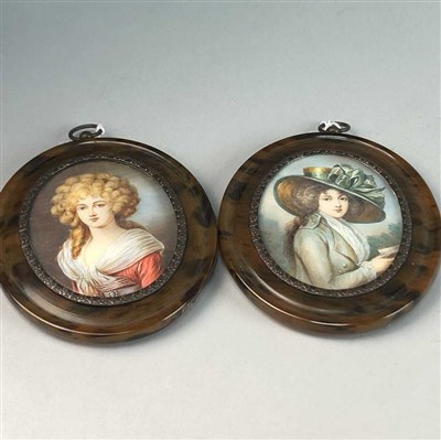 Lot 37-A PAIR OF OVAL MINIATURE PORTRAITS OF 'GAINSBOROUGH' LADIES