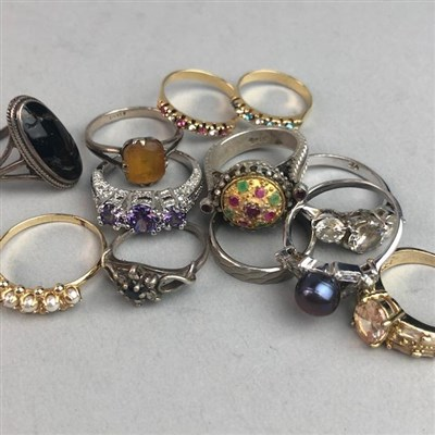Lot 39-TWELVE VINTAGE SILVER AND OTHER RINGS