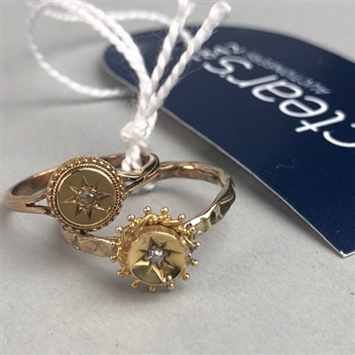Lot 47-TWO VICTORIAN GOLD DRESS RINGS