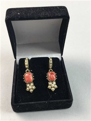 Lot 48-A PAIR OF VICTORIAN YELLOW METAL EARRINGS