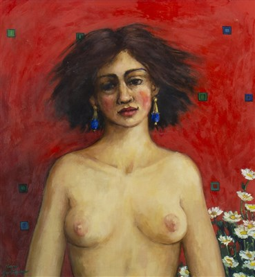 Lot 585-PORTRAIT OF A LADY, AN OIL BY MARY GALLAGHER