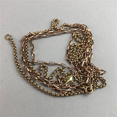 Lot 3-A NINE CARAT GOLD CHAIN AND ANOTHER CHAIN