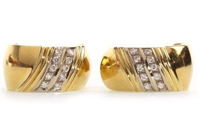 Lot 6-A PAIR OF DIAMOND SET EARRINGS
