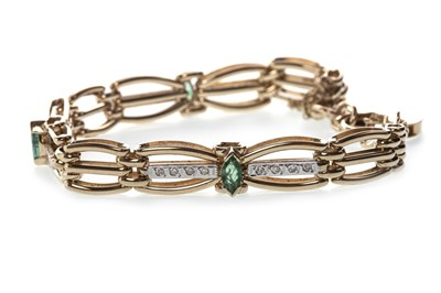 Lot 7-A GREEN GEM SET AND DIAMOND BRACELET