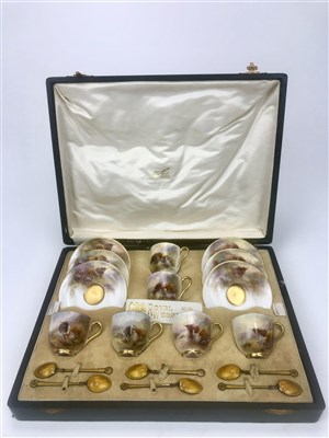 Lot 1288-AN IMPRESSIVE ROYAL WORCESTER COFFEE SERVICE BY HARRY STINTON