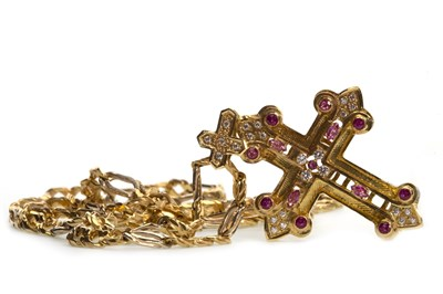 Lot 18-A GEM SET CROSS PENDANT ON CHAIN