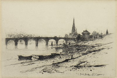 Lot 402-PERTH BRIDGE, AN ETCHING BY DAVID YOUNG CAMERON