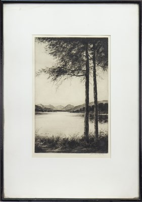 Lot 404-LOCH KATRINE, LOOKING WEST, AN ETCHING BY JOHNSTONE BAIRD