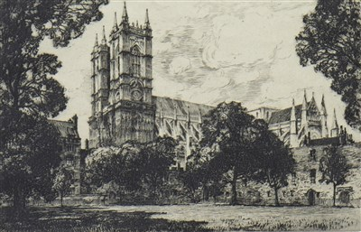 Lot 406-WESTMINSTER ABBEY FROM DEAN'S YARD, AN ETCHING BY ERNEST LIEWELLYN