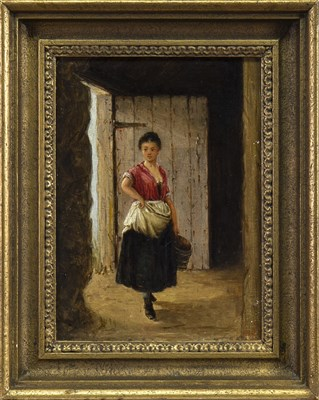 Lot 411-PEASANT GIRL, AN OIL