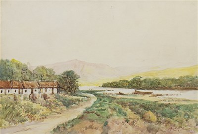 Lot 412-CALEDONIAN CANAL, INVERNESS, A WATERCOLOUR BY HERBERT BRANDON DAVIS
