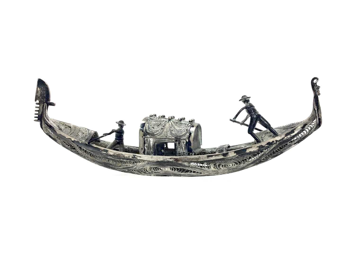 Lot 855-A CONTINENTAL SILVER FILIGREE MODEL OF A GONDOLA