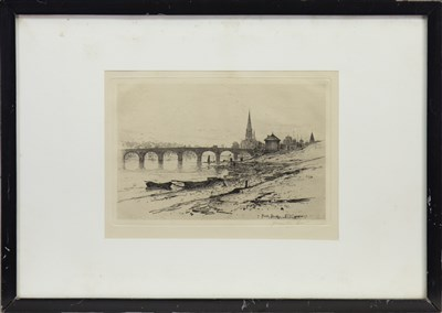 Lot 413-PERTH BRIDGE, AN ETCHING BY DAVID YOUNG CAMERON