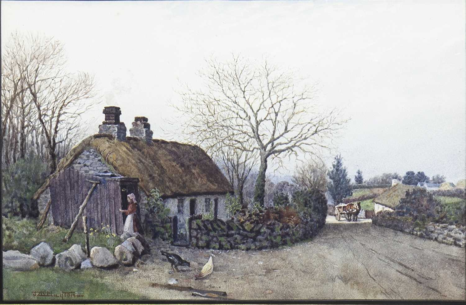Lot 415-RURAL SCENE WITH FIGURES, A WATERCOLOUR