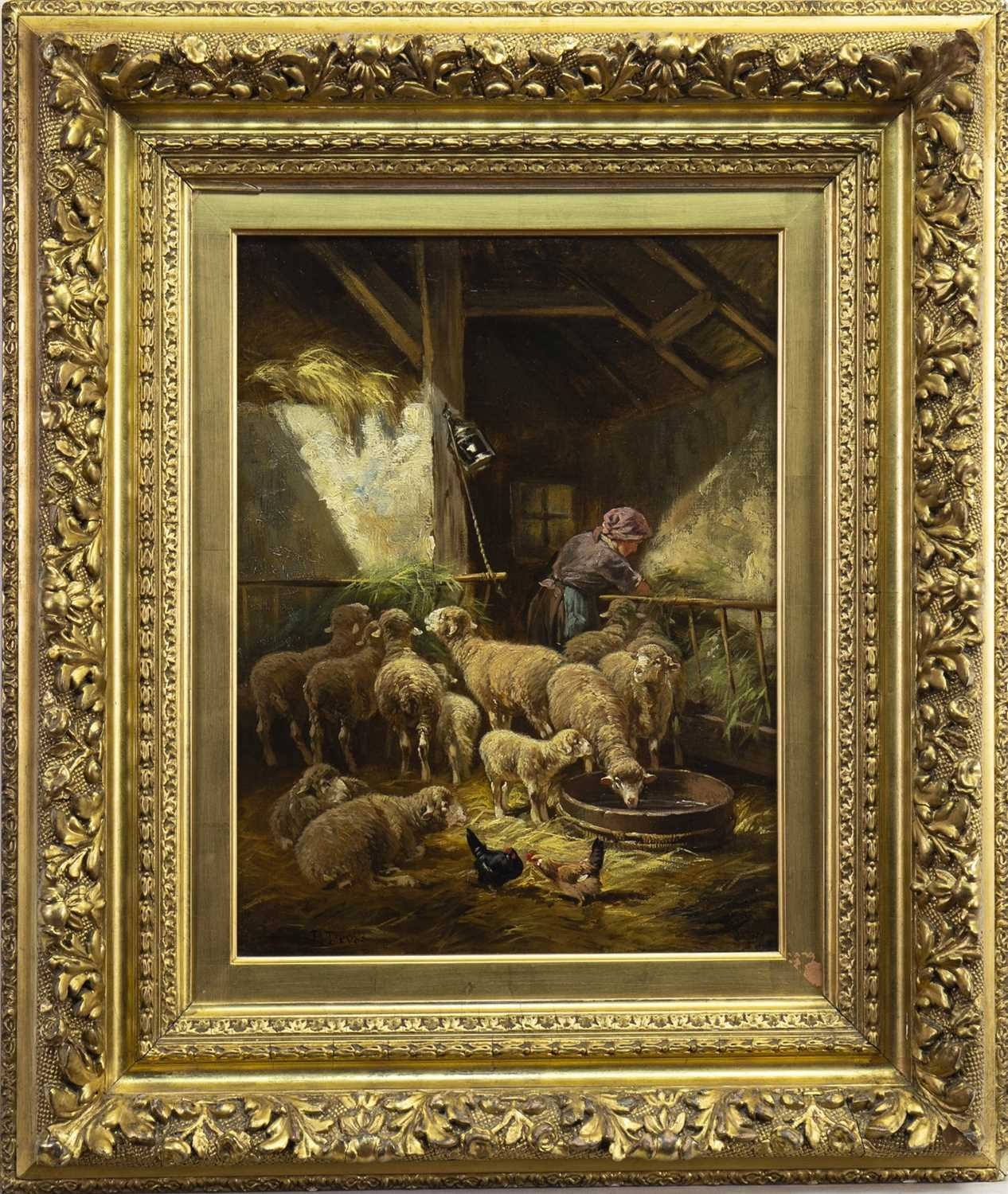 Lot 417-SHEPHERDESS WITH HER FLOCK, AN OIL