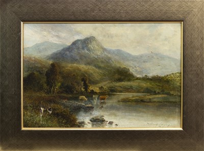 Lot 401-HIGHLAND CATTLE IN A STREAM, AN OIL BY WILLIAM LANGLEY