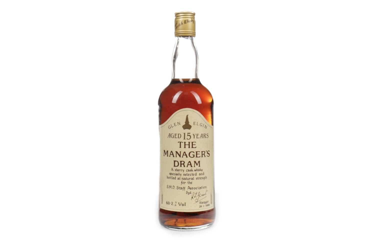 Lot 216-GLEN ELGIN MANAGERS DRAM AGED 15 YEARS
