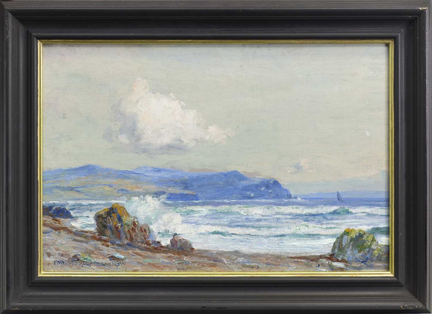 Lot 432-COASTAL SCENE, AN OIL BY P MACGREGOR WILSON