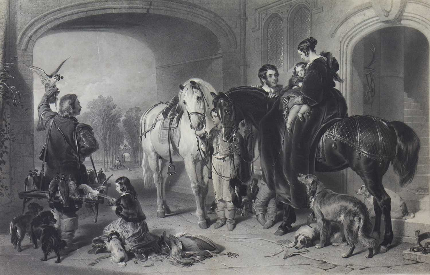 Lot 420-RETURN FROM HAWKING, AN ENGRAVING BY SAMUEL COUSINS, AFTER LANDSEER
