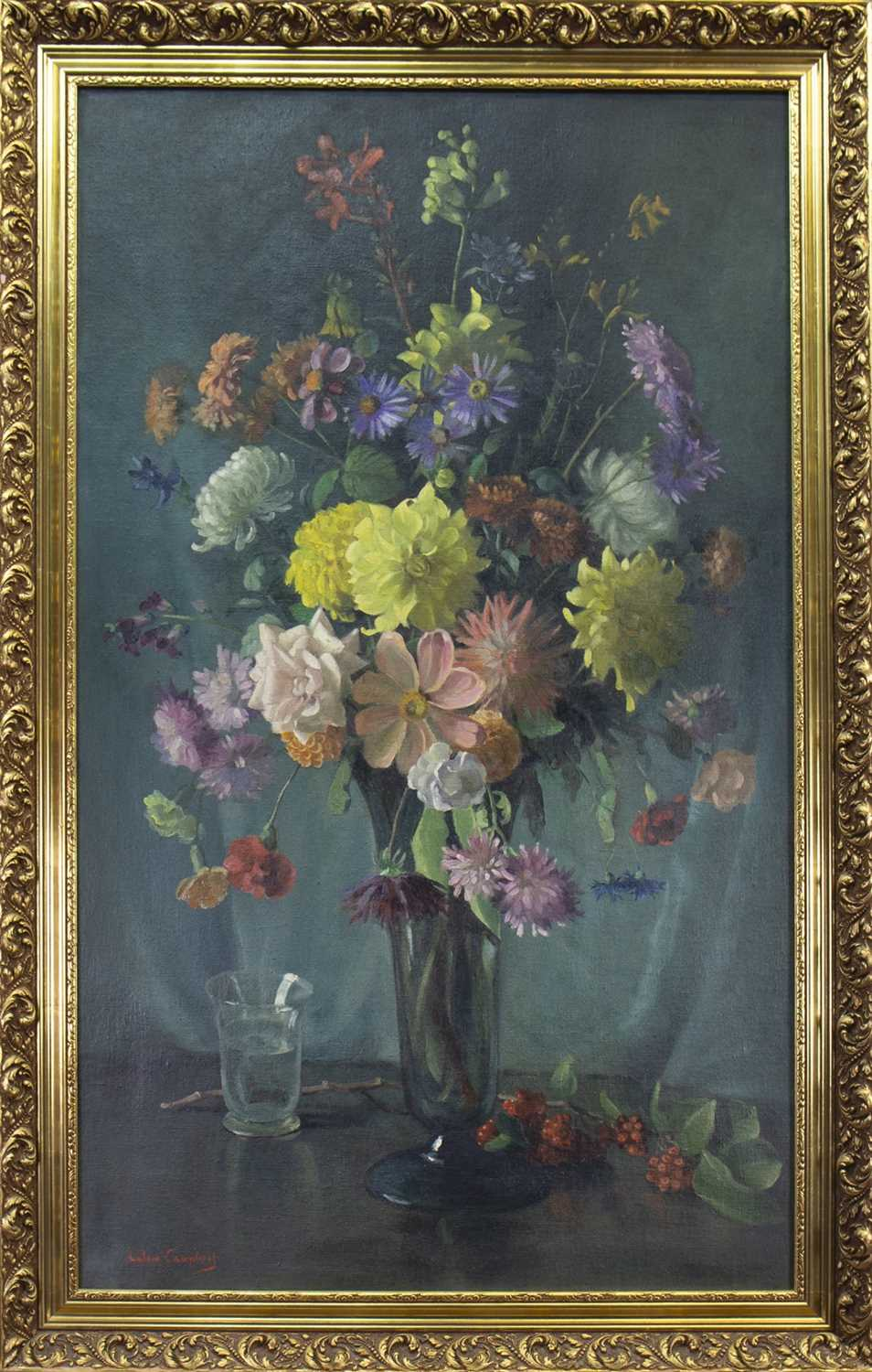 Lot 421-STILL LIFE, AN OIL BY COLIN CAMPBELL