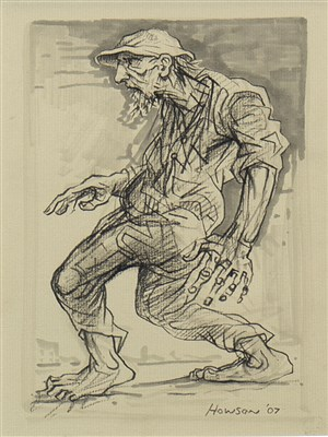 Lot 690-THE SEARCHER, A MIXED MEDIA BY PETER HOWSON