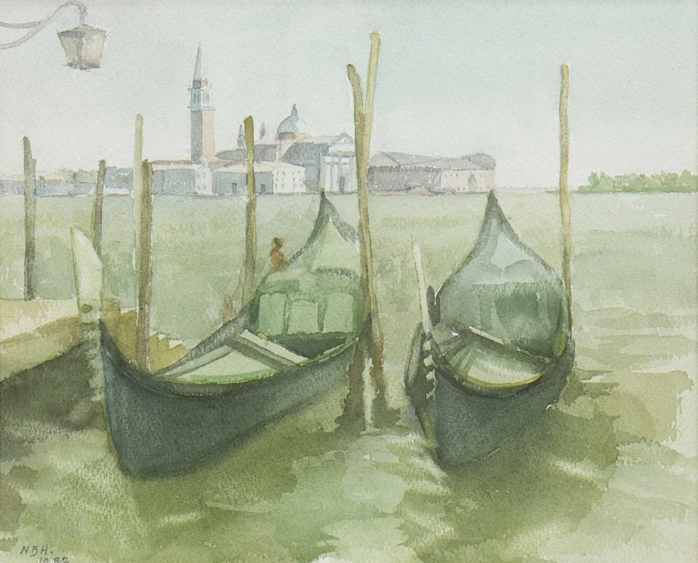 Lot 511-GONDOLAS ON THE MOLO, A WATERCOLOUR BY NINIAN BUCHAN-HEPBURN