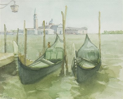 Lot 511-GONDOLAS ON THE MOLO, A WATERCOLOUR BY NINIAN BUCHAN-HEPBURN