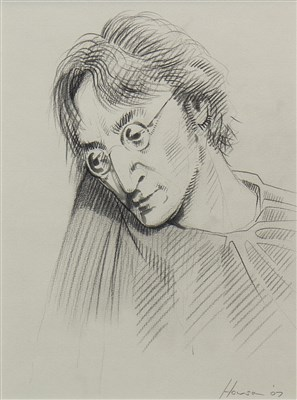 Lot 566-JOHN LENNON, A PENCIL DRAWING BY PETER HOWSON