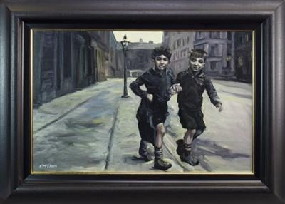 Lot 571-GORBAL BOYS, AN OIL BY FRANK MCFADDEN