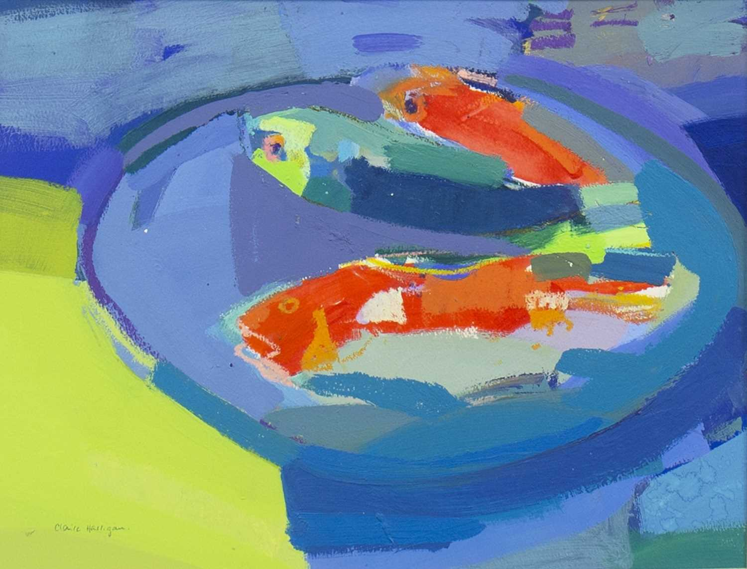 Lot 542-RED SNAPPERS AND BLUE PARROT FISH, A MIXED MEDIA BY CLAIRE HARRIGAN