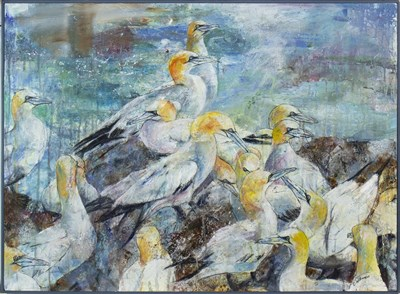 Lot 518-ANOTHER DAY ON GANNET ROCK, A MIXED MEDIA BY C WILLIAMSON