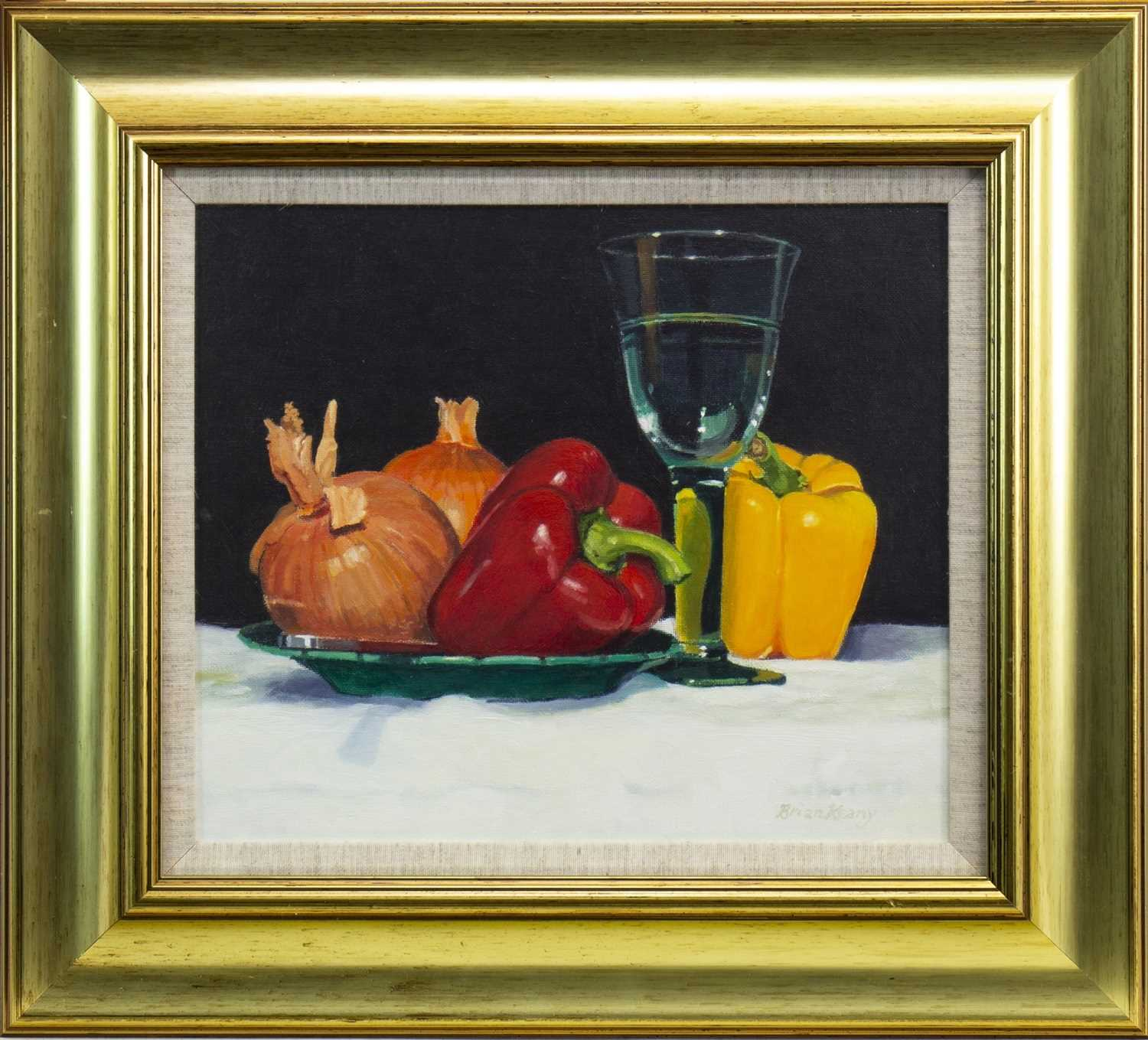 Lot 520-ONIONS, PEPPERS AND GLASS, AN OIL BY BRIAN KEANY