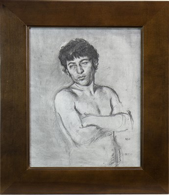Lot 569-MALE NUDE - ARMS FOLDED, A CHARCOAL BY PAUL REID
