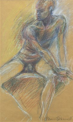 Lot 570-NUDE STUDY, A PASTEL BY BERNIE O'DONNELL