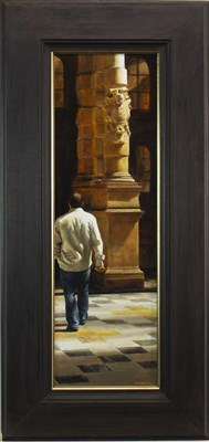 Lot 572-SUDDEN IN A SHAFT OF SUNLIGHT, AN OIL BY RICHARD WHINCOP