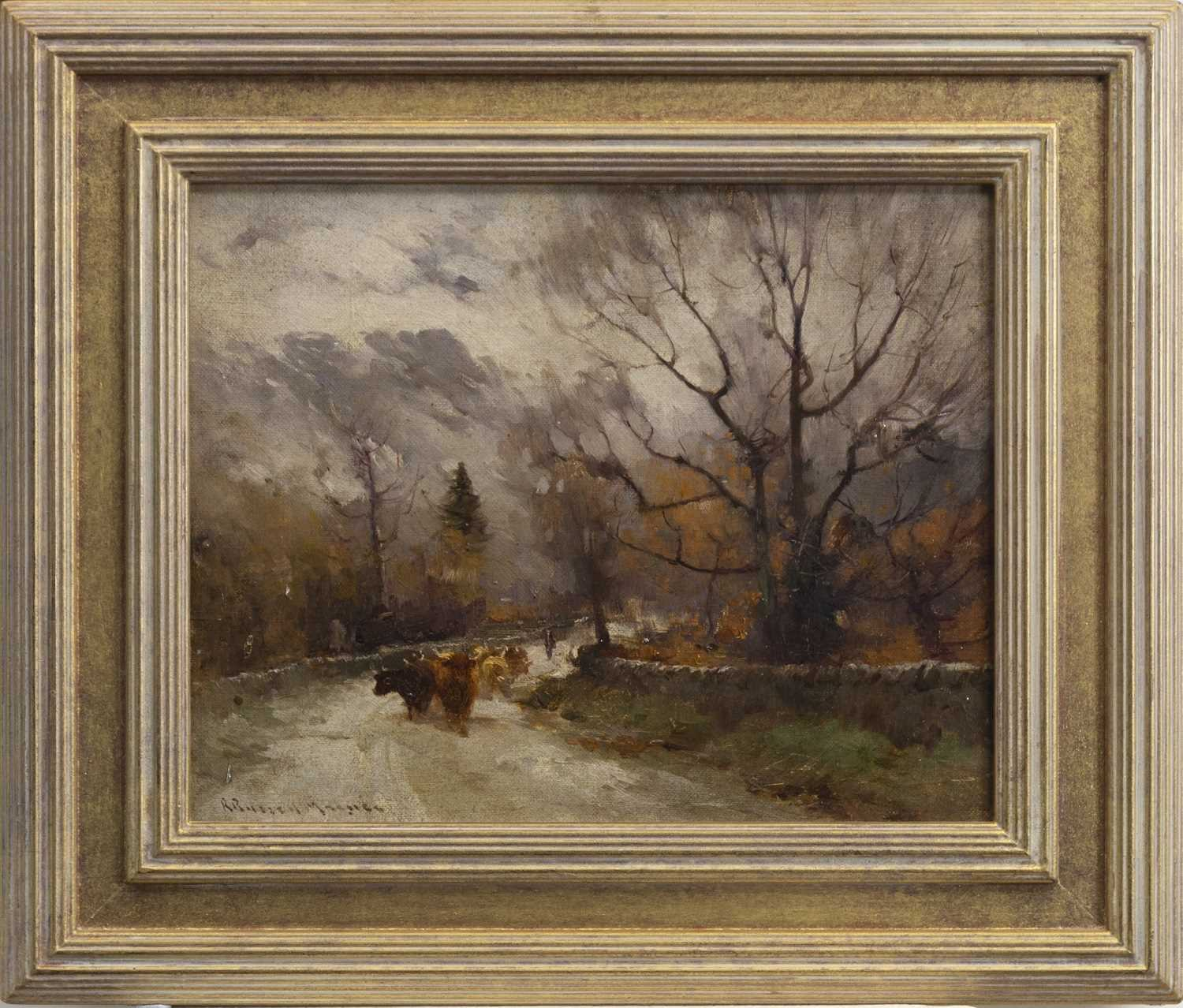 Lot 403-HERDMAN AND CATTLE, AN OIL BY ROBERT RUSSELL MACNEE