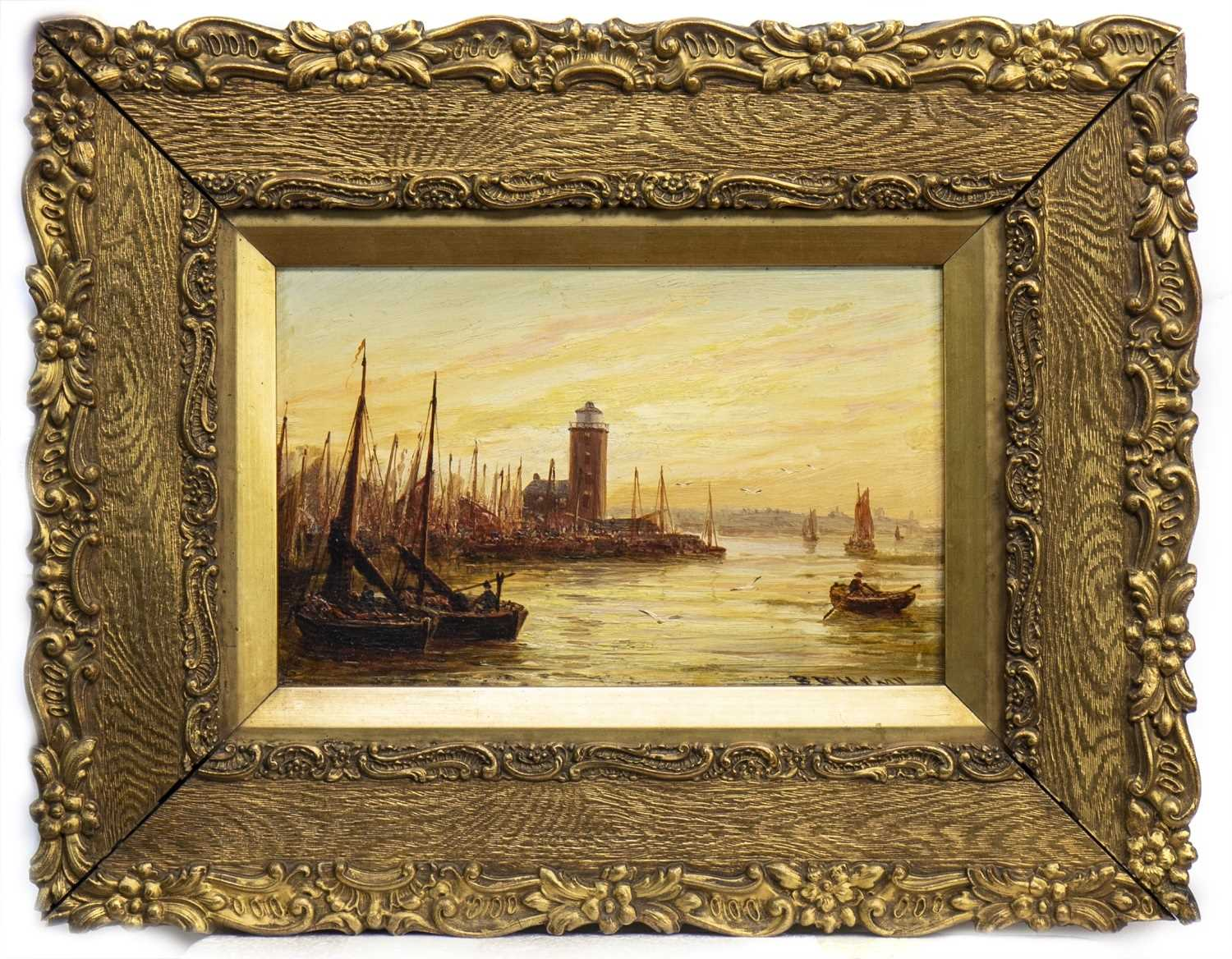 Lot 404-SHIPPING SCENE, AN OIL BY BERNARD BENEDICT