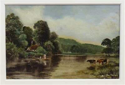 Lot 423-RURAL SCENE WITH CATTLE AND FIGURES