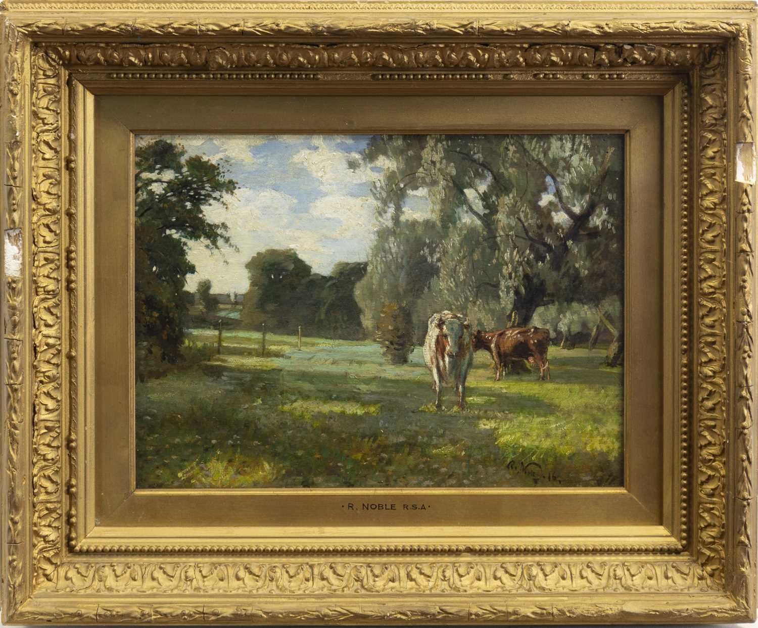 Lot 410-CATTLE GRAZING IN A FOREST LANDSCAPE, AN OIL BY ROBERT NOBLE