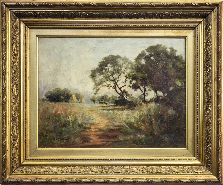 Lot 411-HARVEST SCENE, AN OIL BY ROBERT RUSSELL MACNEE