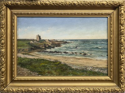 Lot 405-COASTAL SCENE WITH CASTLE, AN OIL BY R KEYSER