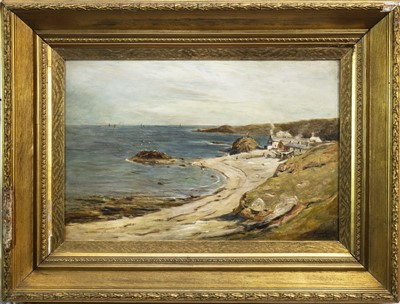 Lot 409-COASTAL SCENE, AN OIL BY JOHN SMART