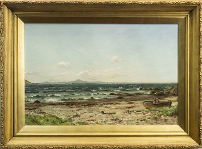 Lot 412-COASTAL SCENE, AN OIL BY THOMAS HOPE MACKAY