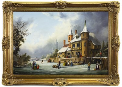 Lot 425-WINTER STREET SCENE, AN OIL BY PIETER SPELT