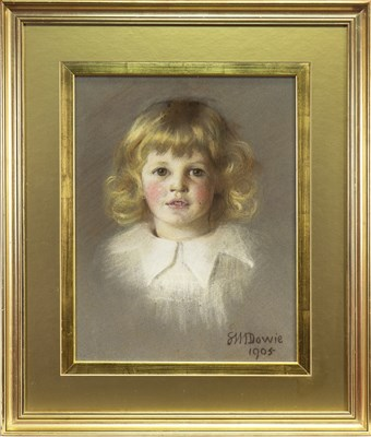 Lot 427-A YOUNG GIRL, A PASTEL BY SYBIL M DOWIE